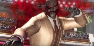 Le personnage de Dead or Alive 6 Raidou en costume cravate et position de combat pour la mise à jour 1.02