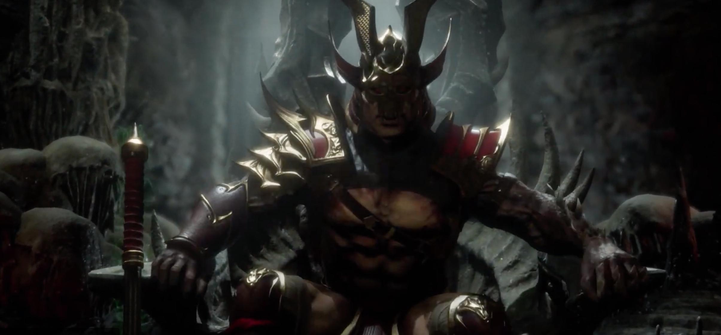 Le personnage de Mortal Kombat 11 Kotal Kahn en train de s'asseoir