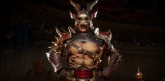 Le personnage de Mortal Kombat 11 Shao Kahn en train de rire