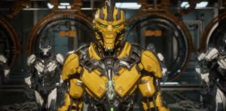 Personnage de Mortal Kombat 11 portant une armure jaune dans la bande-annonce de lancement