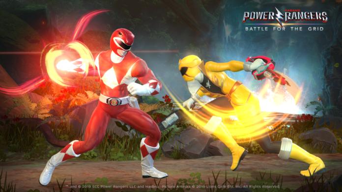 Deux power rangers, l'un rouge et l'autre jaune, se battant dans le jeu power rangers battle for the grid à l'occasion de la sortie de la version 1.1.2