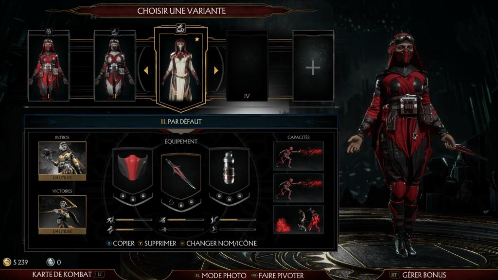 L'écran de personnalisation Kustomiser de Mortal Kombat 11 pour le test