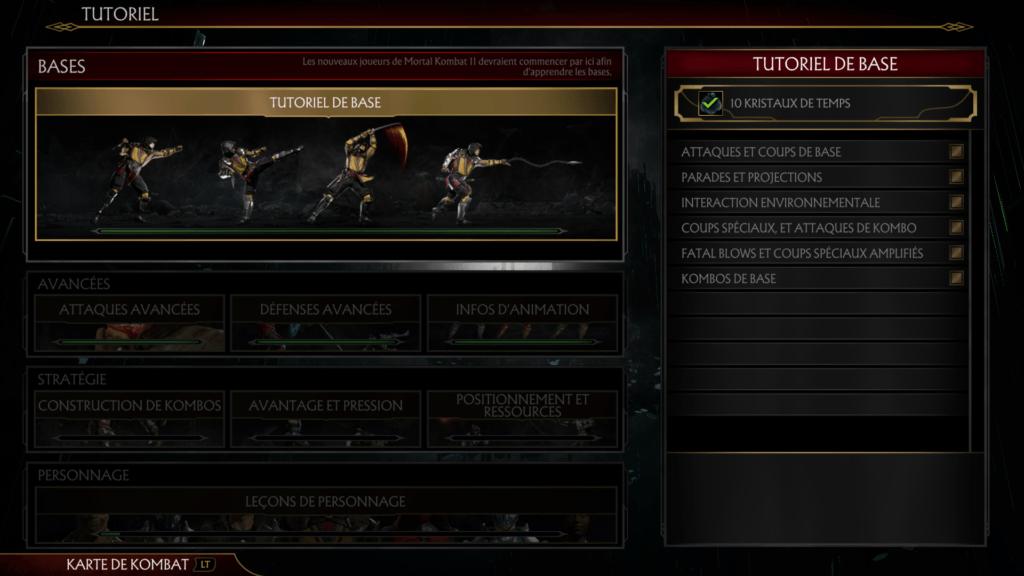 L'écran des tutoriels de Mortal Kombat 11 à l'occasion d'un test