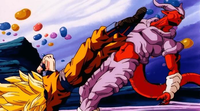 Le personnage de Dragon Ball Z Janemba se prenant un coup par Son Goku