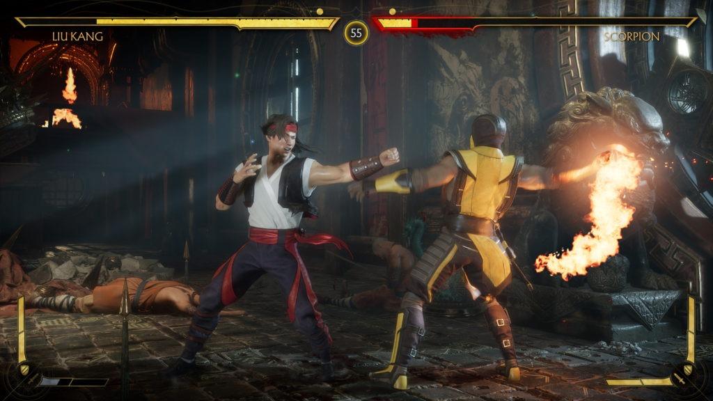 scène de jeu de Mortal Kombat 11 à l'occasion d'un test