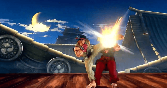 Le niveau de street fighter v suzaku castle de nuit