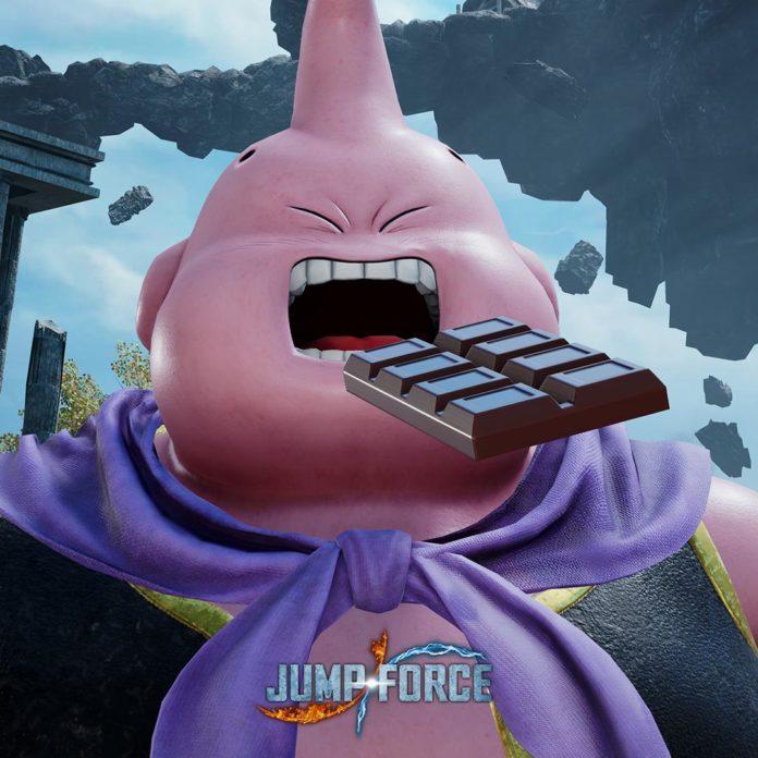 Le personnage additionnel de Jump Force Boubou avec une plaque de chocolat