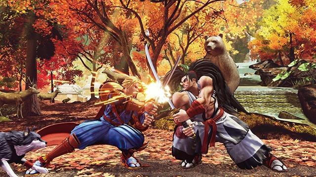 Les personnages Haomaru et Galford croisent le fer dans un sous-bois