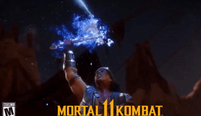 Le personnage Nightwolf de Mortal Kombat 11 qui brandit un tomahawk