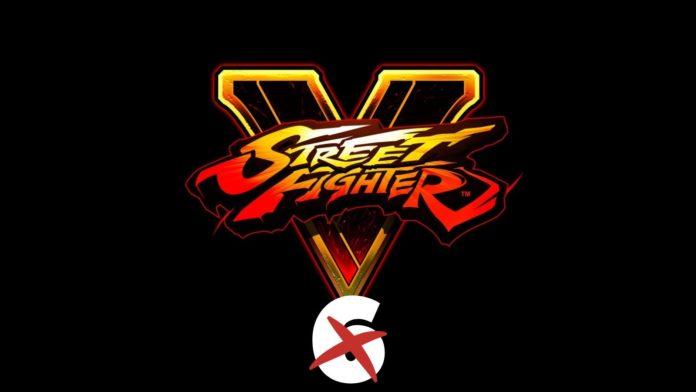 Le logo de Street Fighter V avec le chiffre 6 barré en dessous
