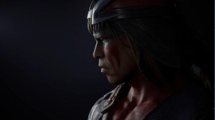 Le personnage de Mortal Kombat 11 Nightwolf fixant la gauche