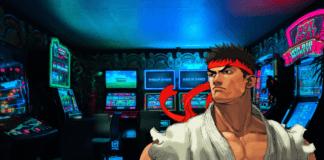 Le personnage de Street Fighter Ryu devant des machines à sous