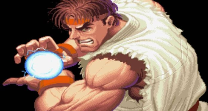Ryu faisant un Hadoken dans l'introduction de Super Street Fighter II