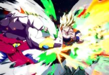 Le personnage de Dragon Ball FighterZ Broly en train d'attaquer Son Goku