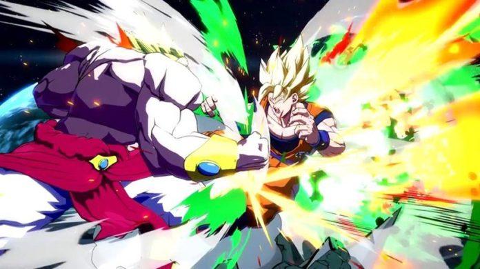 Le personnage de Dragon Ball FighterZ Broly en train d'attaquer Son Goku