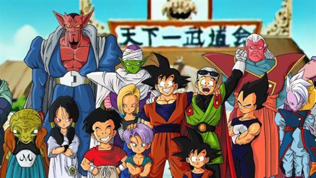 Les personnages de Dragon Ball Z prenant la pause façon photo de famille
