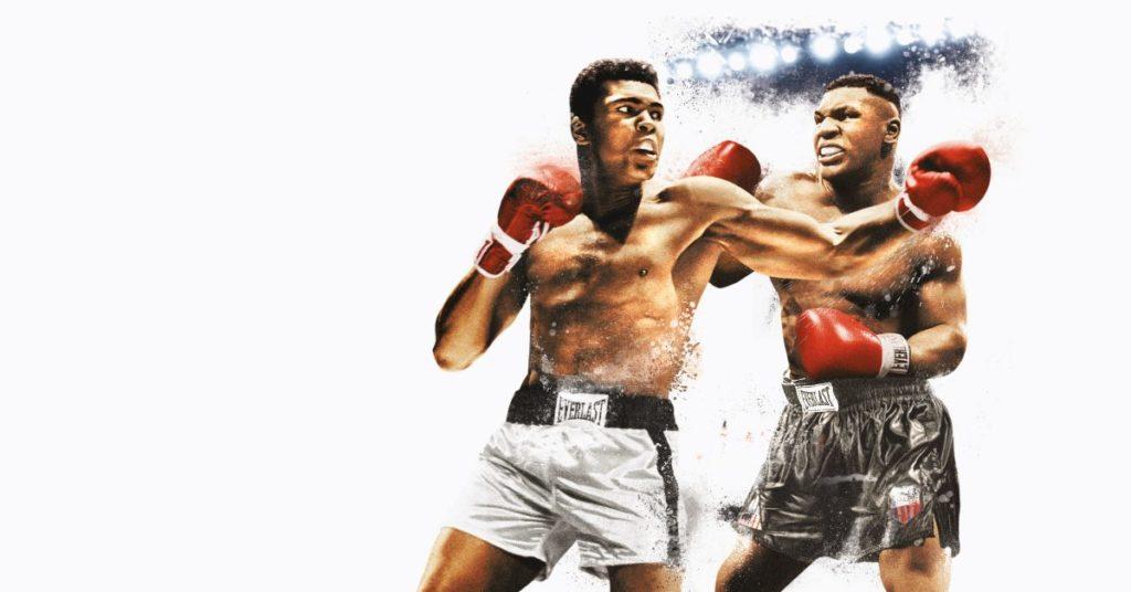Le logo du jeu Fight Night Round 4 avec deux boxeurs. L'un porte un short blanc, l'autre un short noir.