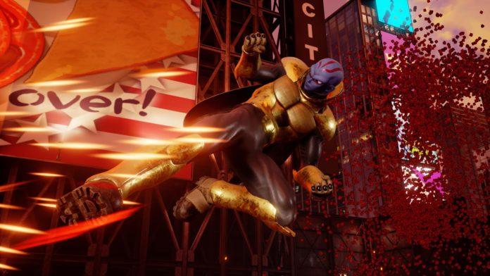 Le nouveau combattant de la version 1.11 de Jump Force : Kane, qui donne un coup de pied dans les airs.