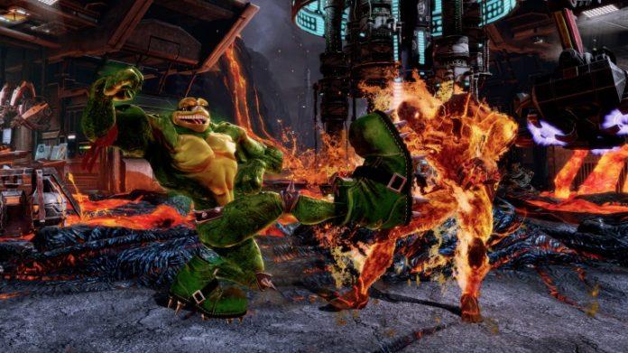 Deux personnages de Killer Instinct qui se battent devant de la lave
