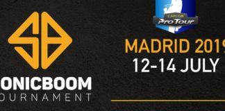 Le logo du tournoi de jeux de combat Sonic Boom à Madrid