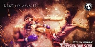 Le logo du tournoi anglais VSFighting pour 2019 avec deux combattants asiatiques échangeant des coups