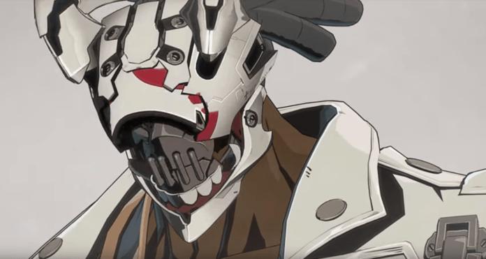 Le visage d'un combattant du futur jeu Guilty Gear surmonté d'un casque