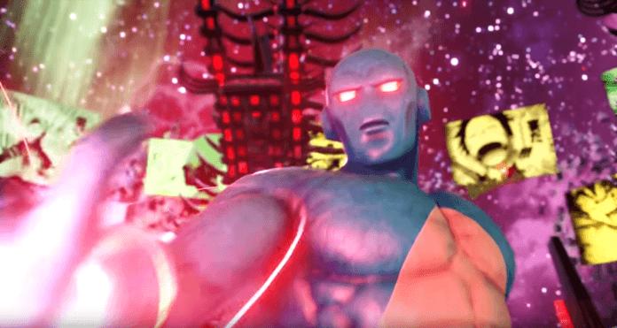 Le personnage de Jump Force Prometheus avec les yeux rouges brillants