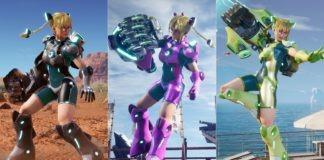 Trois costumes différents du personnage Area de Fighting EX Layer
