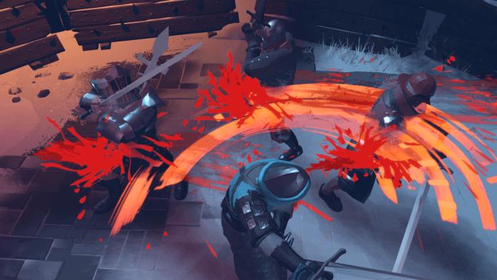 Un personnage du jeu Boreal Blade qui tranche des ennemis sauvagement avec son épée