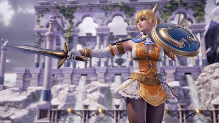 Le personnage de SoulCalibur VI Cassandra qui brandit son épée et son bouclier