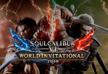 L'affiche du tournoi SoulCalibur VI World Invitational 2019 avec les personnages Mitsurugi et Geralt de Riv