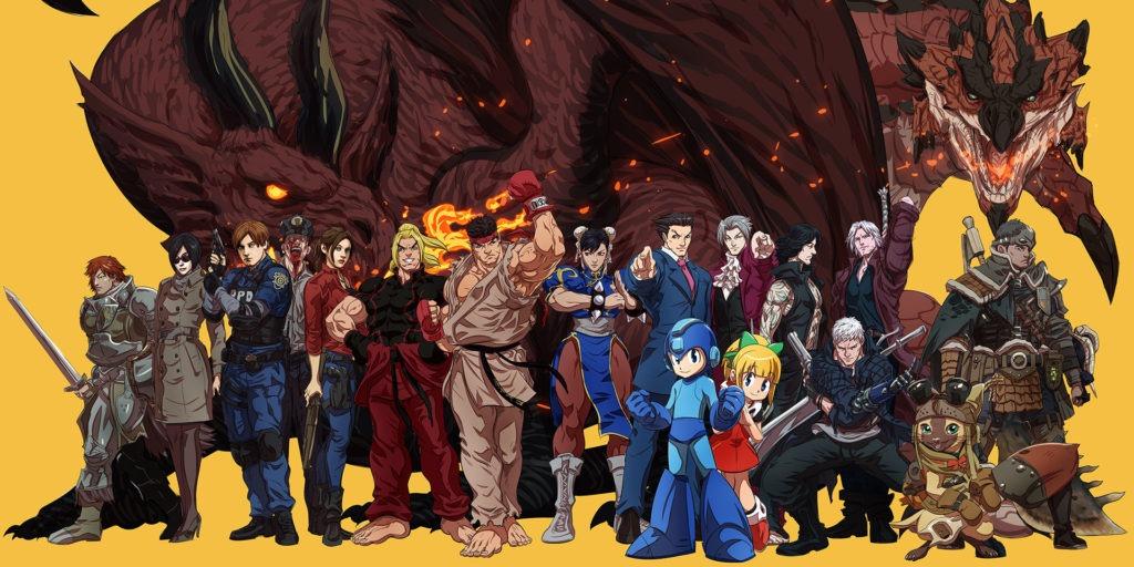 Les héros des différentes séries Capcom avec deux dragons en arrière-plan