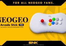 Le Neo Geo Arcade Stick Pro sur fond jaune