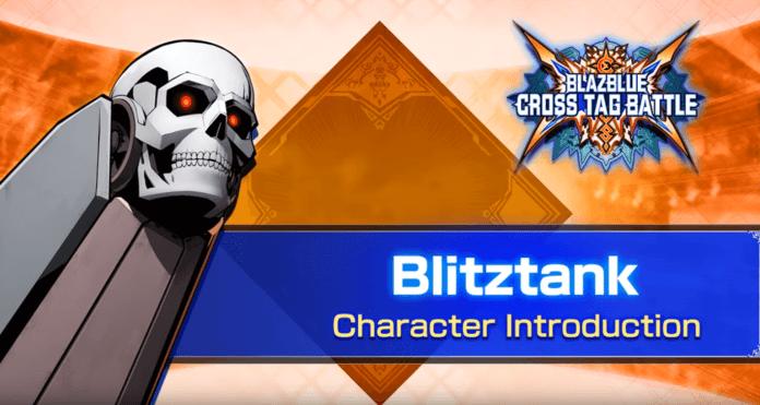 La tête de mort de Blitztank pour sa bande-annonce de BlazBlue: Cross Tag Battle