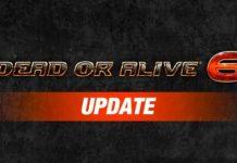 Le logo de Dead or Alive 6 sur fond noir suivi du mot update