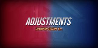 Le visuel officiel des notes de patch de la mise à jour Champion Edition pour Street Fighter V en rouge et bleu