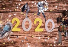 Le chiffre 2020 entourés des personnages de jeux de combat qui sortiront en 2020