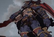 Le personnage de Granblue Fantasy: Versus Vaseraga portant sa faux sur son épaule droite