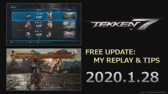 Image de Tekken 7 à l'EVO Japan 2020 présentant la future mise à jour du 28 janvier incluant la fonctionnalité My Replay & Tips
