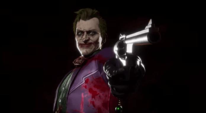 Le Joker dans Mortal Kombat 11 pointant un pistolet dans sa bande-annonce