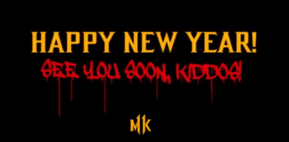 Le texte « happy new year! see you soon kiddos! » écrit en jaune et rouge avec le logode Mortal Kombat 11 en bas