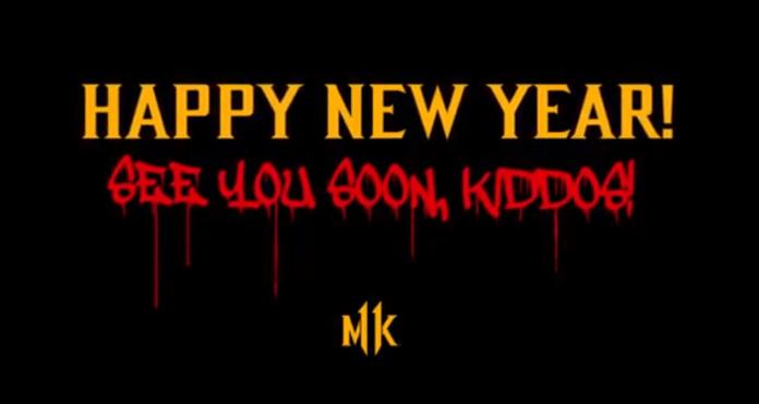 Le texte « happy new year! see you soon kiddos! » écrit en jaune et rouge avec le logode Mortal Kombat 11 en bas