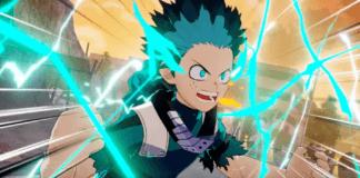 Le personnage Deku de My Hero One's Justice lors de son affrontement avec Overhaul