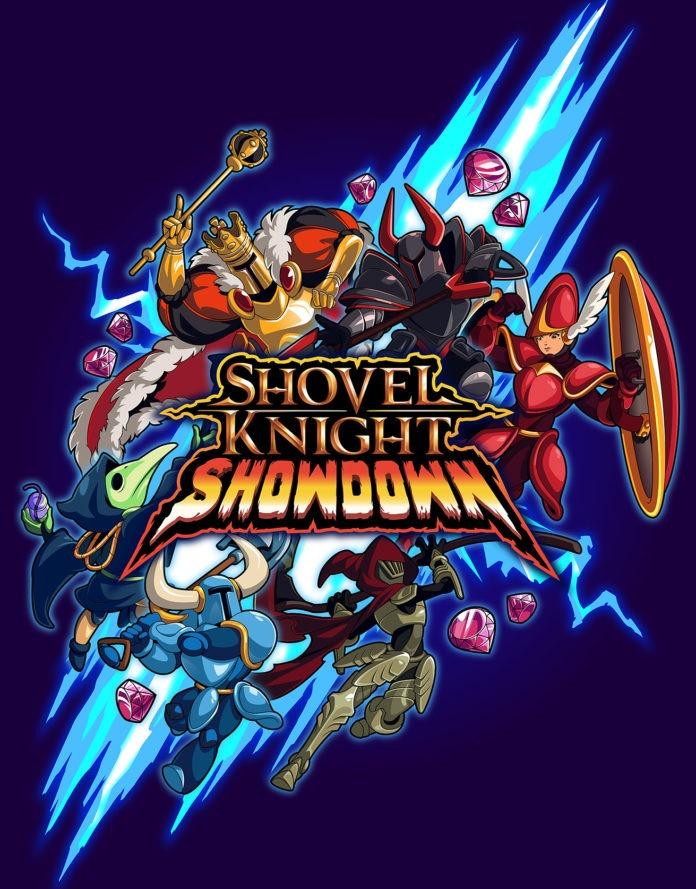 Le logo du jeu Shovel Knight Showdown avec les personnages à l'occasion du test