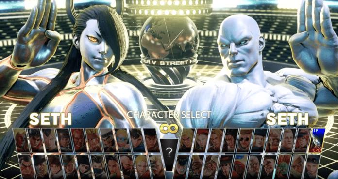 Deux costumes du personnage en DLC Seth dans l'écran de sélection des personnages de Street Fighter V: Champion Edition