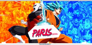 L'affiche des Dragon Ball FighterZ World Tour Finals avec à droite Goku Blue et à gauche Jiren