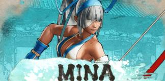 Le personnage additionnel de Samurai Shodown Mina Majikina prenant la pose avec son arc sur un fond bleu turquoise