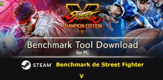 Le visuel de l'outil de test de performances benchmark de Capcom avec Ryu à gauche et Chun-Li à droite