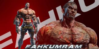 Le DLC Fahkumram de Tekken 7 sur fond rouge