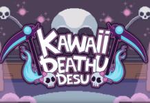 Le logo du jeu Kawaii Deathu Desu sur Nintendo Switch avec deux faux de chaque côté